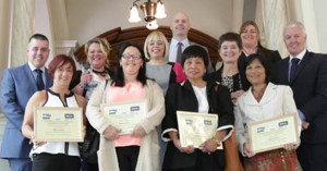 The winners and finalists in the BICSc Cleaner of the Year Awards 2015  take time out to pose for the cameras with Senior Managers  of Robinson Services to celebrate
